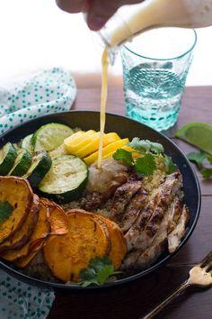 Jamaican Jerk Chicken Bowls with Grilled Veggies and Mango   sweetpeasandsaffron.com @sweetpeasaffron