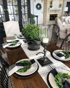 how to decorate dining room chairs for christmas - Dining Room Decor Dining Room Decor Farmhouse Dining Room Table, Dining Room Table Decor, Deco Table, Decoration Table, Decor Room, Dining Room Design, Home Decor, Rustic Farmhouse, Farmhouse Style