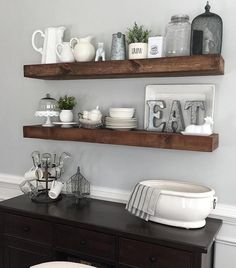Beautiful version of our dining room floating shelves by @myneutralnest... Her hubby built them for her! ❤️ Good #shantyman! Free plans to build your own are on our site! #shanty2chic #hgtv #OpenConcept