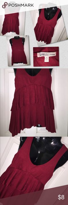 Burgundy Top ~ B41 Cute layered look. Excellent condition. By Charlotte Russe Charlotte Russe Tops Tank Tops
