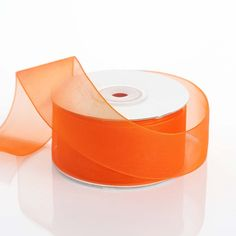 "25 Yard 1.5"" DIY Coral Orange Organza Ribbon With Mono Satin Edge"