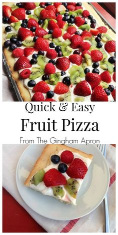 and Easy Fruit Pizza Starting with a sugar cookie mix, this fruit pizza is so quick and EASY to make. (Favorite Desserts Potlucks)Starting with a sugar cookie mix, this fruit pizza is so quick and EASY to make. Fruit Pizza Frosting, Fruit Pizza Bar, Easy Fruit Pizza, Fruit Pizzas, Fruit Snacks, Dessert Pizza, Healthy Desserts With Fruit, Quick Pizza, Puddings