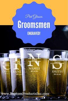 Engraved Pint Glass, Groomsmen Gift, Beer Mug, Groomsmen beer mug, Groomsmen Pint Glass