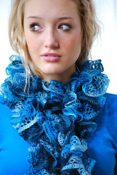 Turquoise Ruffled Scarf Hand knit shades of Turquoise by AquaLumen, $30.00