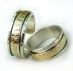 Silver gold spinner ring set, asymmetrical hammered spinner band,  sterling silver base, his and hers rings, summer wedding, Ilan Amir