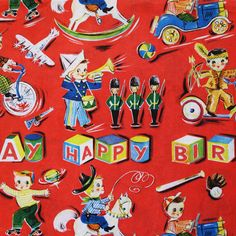 Vintage Prestige Juvenile BOY BIRTHDAY Gift Wrap - Wrapping Paper - Cowboy Indian Soldier - 1950s