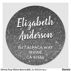 Shop Silvery Gray Glitter Return Address Envelope Seal created by BikkiDesigns. Custom Return Address Labels, Address Label Template, Label Templates, Addressing Envelopes, Custom Stickers, Activities For Kids, Seal, Glitter, Personalized Stickers