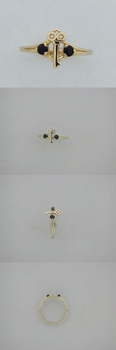 Rings 98477: Key Ring Natural Sapphire For Children Teen 10Kt Yellow Gold -> BUY IT NOW ONLY: $65.0 on eBay!