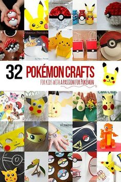 32 Pokémon crafts for kids to make that have a passion, wait, obsession with Pokémon - a great way to break them away from the screen. Crafts For Boys, Fun Crafts, Diy For Kids, Family Crafts, Kids Fun, Pokemon Games For Kids, Pokemon Craft, Pokemon Birthday, Pokemon Party