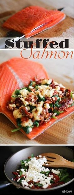 to Cook Stuffed Salmon Stuffed Salmon --- stuff salmon with feta, sundried tomatoes and spinach!Stuffed Salmon --- stuff salmon with feta, sundried tomatoes and spinach! I Love Food, Good Food, Yummy Food, Tasty, Amazing Food Recipes, Fish Dishes, Seafood Dishes, Salmon Dishes, Salmon Meals
