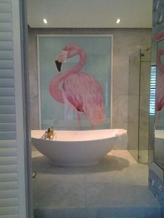 Mannabay Flamingo room Cape town South Africa // I'm going to be needing this entire room Flamingo Bathroom, Flamingo Decor, Pink Flamingos, Flamingo Painting, Flamingo Photo, Bathroom Wall, Deco Addict, Pink Bird, Bathroom Inspiration