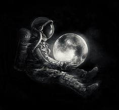 'Moon Play' Poster by nicebleed Space Artwork, Wallpaper Space, Galaxy Wallpaper, Japon Illustration, Space Illustration, Foto Fantasy, Fantasy Art, Astronaut Wallpaper, Art Noir