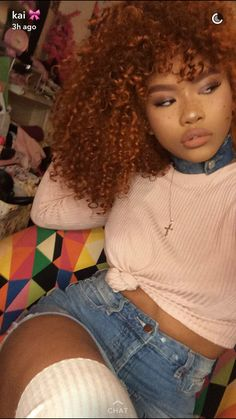 • @NisforNaja • Curly Hair Styles, Natural Hair Styles, Dyed Natural Hair, Black Girl Aesthetic, Auburn Hair, Dream Hair, Ginger Hair, Afro Hairstyles, Hair Looks