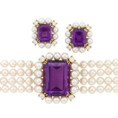 Four Strand Cultured Pearl, Gold, Amethyst and Diamond Bracelet, and a Pair of Earclips by Tiffany & Co.