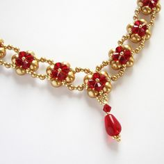 beadwoven necklace with swarovski pearls and bicones by Lariata, via Flickr