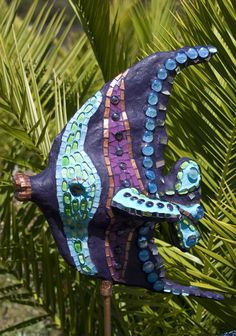 Angelina the angel fish concrete mosaic sculpture for the garden or pool side www.lindablevins.com