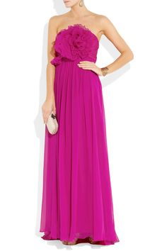 Notte by Marchesa embellished silk-chiffon gown - bridesmaid choice for the bride who wants a pop of color