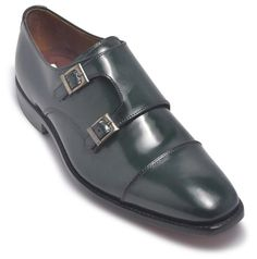 Dark GreenFormal Leather Shoes Glossy exterior with impeccable shiny finish Practical monkstrap style closure design Rich and classy whine red insole as well Golden embellishments on the monk style strap Perfect footwear with versatile features Stable design with expert craftsmanship Easy slip-on feature of smooth wea