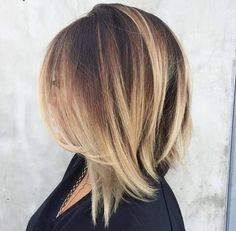 angled+dark+brown+lob+with+blonde+balayage by rena