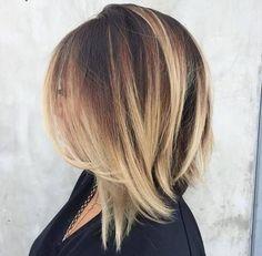 angled+dark+brown+lob+with+blonde+balayage by rena