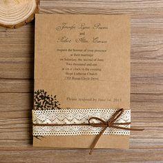 liebe Baum rustikal lace ausgefallene Hochzeitseinladung 2014 bei optimalkarten Rustikal Spitze Einladungskarten Hochzeit 2014 bei optimalkarten.de