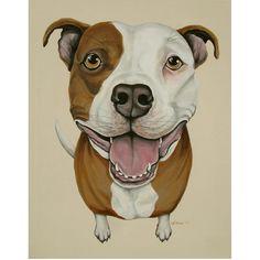 Apollo Pit Bull Pitbull Painting Canvas Dog Portrait Pet Original Art Puppy Art by Weeze. $350.00, via Etsy.
