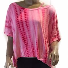 New Pink tie dye asymmetrical hemline top sz MD New with tags, yummy bright pink tie dye top. Short sleeve with skinny strap on one shoulder. Made to be Baggy! Tops Tees - Short Sleeve