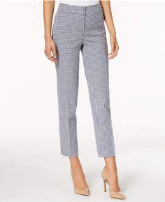 d15fd154e51 Nine West Gingham-Print Ankle Pants Women - Pants   Capris - Macy s
