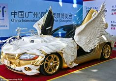 Gold BMW Z4 with dragon wings, tail and feet on show at Chinese ...