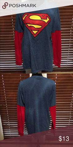 SUPERMAN Men's long sleeve Superman shirt DC Shirts Tees - Long Sleeve