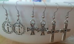 FREE SHIPPING Silver Cross Earrings by Stars2Beads on Etsy, $7.00