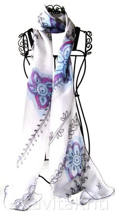 scarf art | Henna Art scarf. OOAK silk scarf. Hand painted silk by KavitaKriti ...