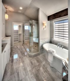 Ks lambie custom homes master bedroom bathroom, modern bathroom, rustic bat House Bathroom, House Design, New Homes, Large Bathroom Design, House Interior, Bathroom Interior Design, Home, Dream Bathrooms, Bathroom Remodel Master