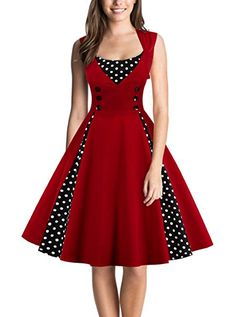 DealBang Women's Retro 1950s Classy Polka Dot Rockabilly Vintage Tea Dress S-5XL (S, Wine Red)
