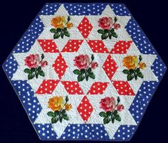 Advanced Embroidery Designs. Free Projects and Ideas. Roses and Stars Patriotic Quilted Table Topper.