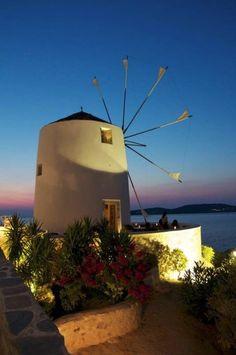 Windmill Bar in Paros island, Greece