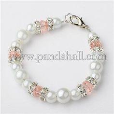 fae27b144223 Cuentas redondas perlas de cristal pulseras para niños BJEW-JB01429-04  Collares Para Niñas