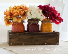Fall Rustic Planter Box With Three Painted by RollinsRusticDesigns