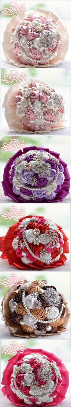 Gorgeous Wedding Flowers Bridal Bouquets Elegant Pearl Bride Bridesmaid Wedding Bouquet Crystal Sparkle 2015 New buque de noiva