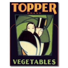 Vintage illustration romance art deco Topper brand vegetable product label art featuring an elegant couple; the lady is wearing a fancy dress and the gentleman is wearing a tuxedo and top hat. Love and romance.