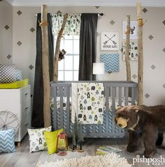Your little adventurer will love this woodland themed collection from Glenna Jean. Whimsical honey bears in shades of mocha, slate, azure and celery roam the forest. The North Country 3 piece set includes quilt, bear print sheet, and crib skirt.  http://www.pishposhbaby.com/glenna-jean-north-country-3pc-set.html
