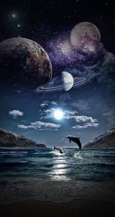 Cara Lanaee Artwork What is reality? Planets Wallpaper, Galaxy Wallpaper, Nature Wallpaper, Wallpaper Backgrounds, Fantasy World, Fantasy Art, Beautiful Moon, Space And Astronomy, Galaxy Art