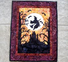 Halloween Witch Quilt Wall Hanging Witchy Woman Fiber by CinfulArt