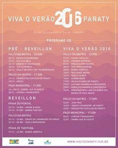 Veja a Programação completa do Viva o Verão 2016 em Paraty!!!  #exposição #evento #festival #música #fotografia #arte #cultura #turismo #VisiteParaty #TurismoParaty #Paraty #PousadaDoCareca #PartiuBrasil #MTur #verão #VivaVerãoParaty #reveillon #prereveillon