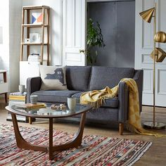 Hamilton Upholstered Sofa - Salt + Pepper (Tweed) | west elm
