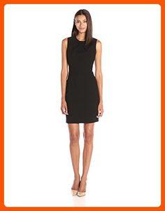 Lark & Ro Women's Pleated Neckline Sheath Dress, Black, 14 - All about women (*Amazon Partner-Link)