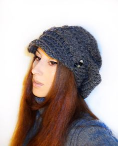 Items similar to Slouchy hat - Slouchy newsboy crochet hat, Wool hat on Etsy Knitted Hats, Crochet Hats, Glass Cube, News Boy Hat, Slouchy Hat, Small Gifts, Gemstone Beads, Natural Gemstones, Wool Blend