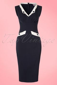 The 50s Signe Lee Pencil Dressis a fantastic 'perfect housewives' inspired dress!How gorgeous is this pencil dress?! THE perfect housewives dress for the fashionistas out there ;-) The beautifully fitted top features an elegant V-necklinewhich is both suitable for a fuller or modest cup due to the pleats, a playful white fold over collar and the skirt features two pockets with contrasting white trims. Made from a dark blue fabric (barely stretches) which hugs your ...
