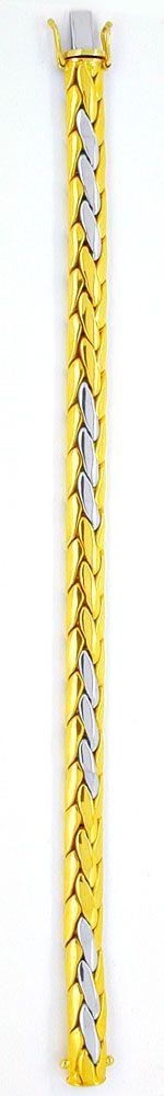 Foto 3, Gewölbtes Zopf-Armband, Gelbgold Weissgold, Luxus! Neu!, K2930