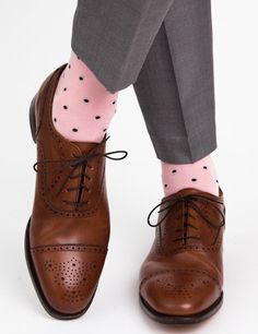 Pink with Navy Polka Dot Linked Toe Mid Calf